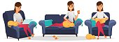 Stylized character. Woman at home. Set. Reading book, lying on sofa and working on laptop in armchair. Freelancer. Cartoon character. Vector illustration