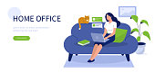 Happy woman sitting on sofa with laptop.  Can use for backgrounds, infographics, hero images. Flat style modern vector illustration.