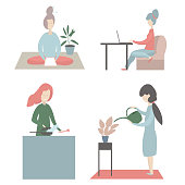 Woman at home. Vector illustration