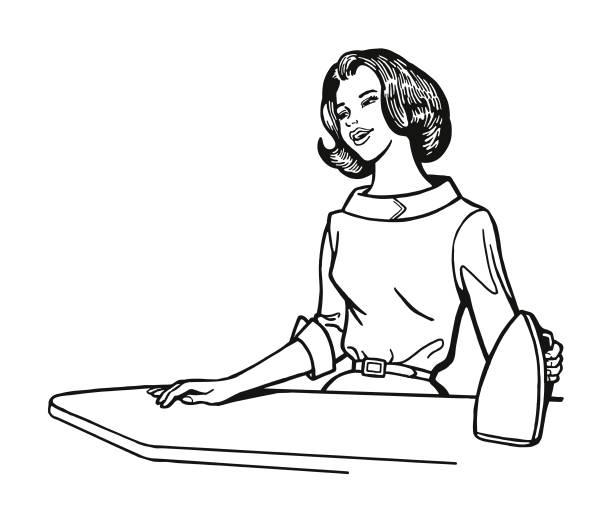 アイロンでの女性 - 楽しい 洗濯点のイラスト素材/クリップアート素材/マンガ素材/アイコン素材