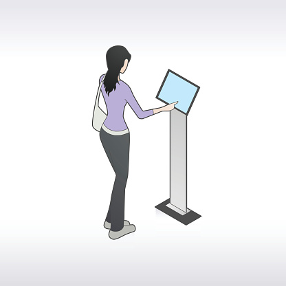 Woman At Kiosk Illustration