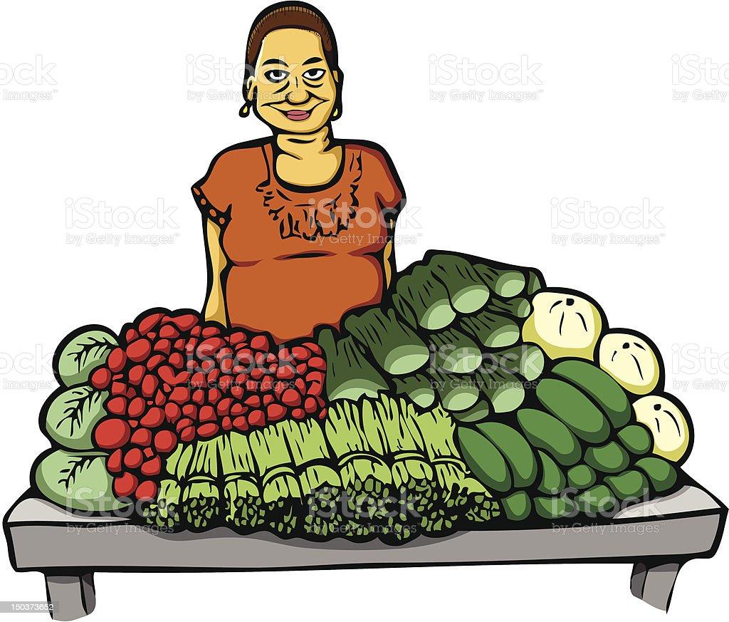 Woman at Market royalty-free stock vector art