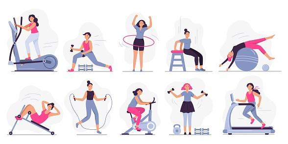 Woman at sport gym. Vector illustration set