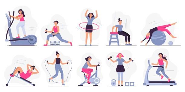 Woman at sport gym. Vector illustration set vector art illustration