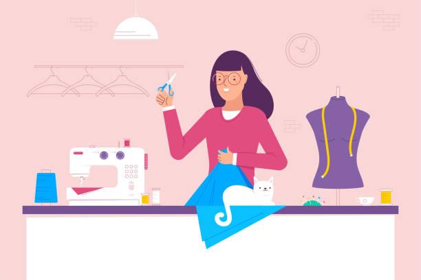 illustrazioni stock, clip art, cartoni animati e icone di tendenza di woman at the table and she sews - tailor working