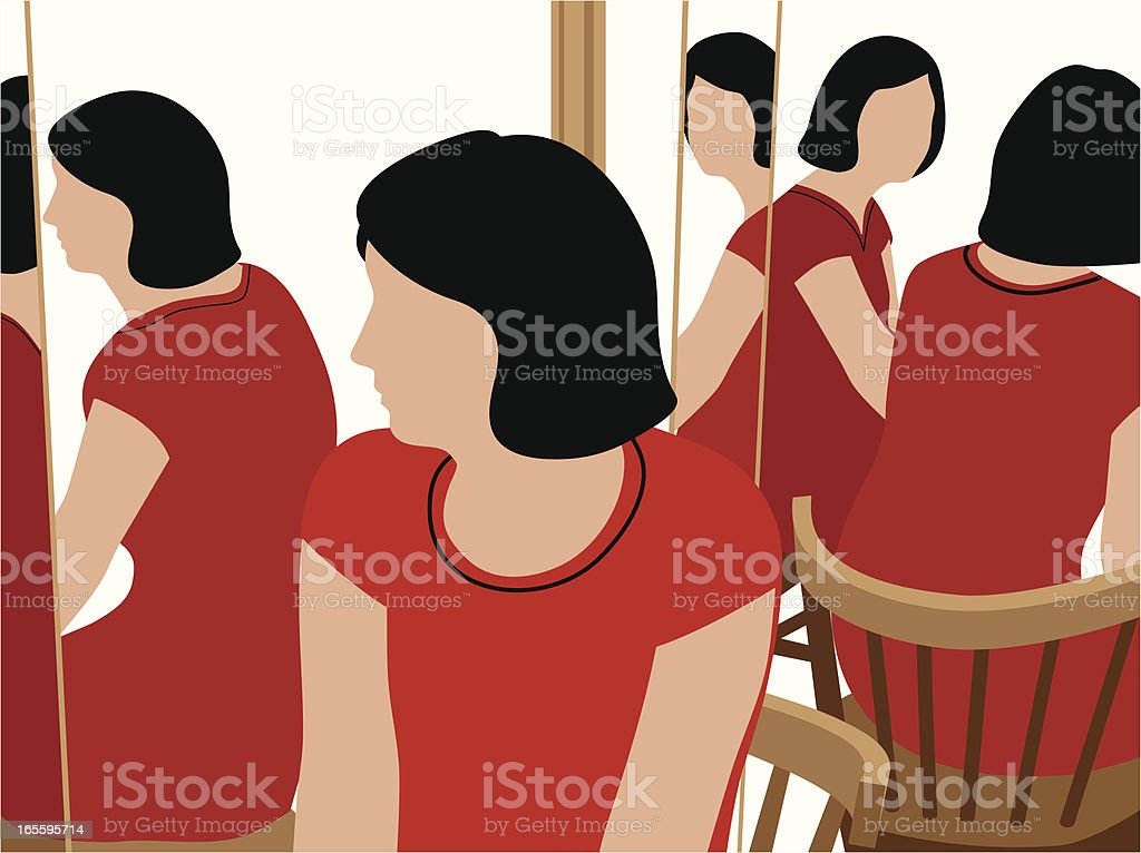 Woman at Three-Way Mirror royalty-free woman at threeway mirror stock vector art & more images of adult