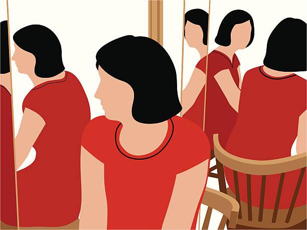 bildbanksillustrationer, clip art samt tecknat material och ikoner med woman at three-way mirror - spegling