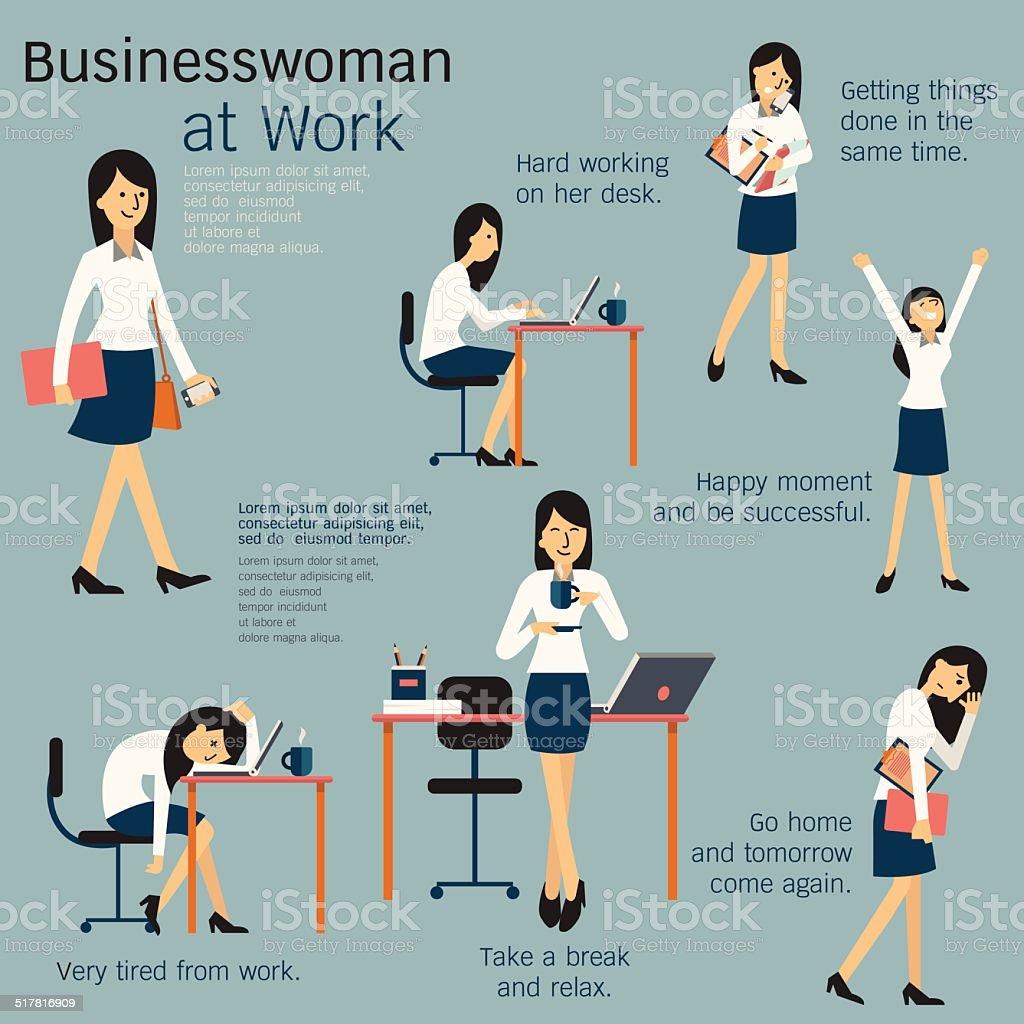 Woman at work vector art illustration