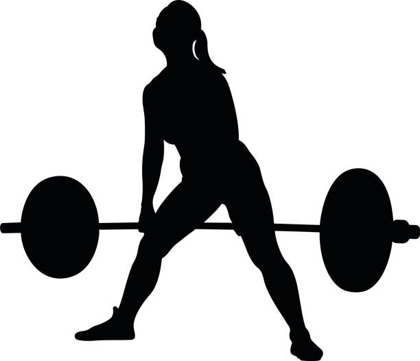 woman athlete powerlifter - weightlifting stock illustrations, clip art, cartoons, & icons