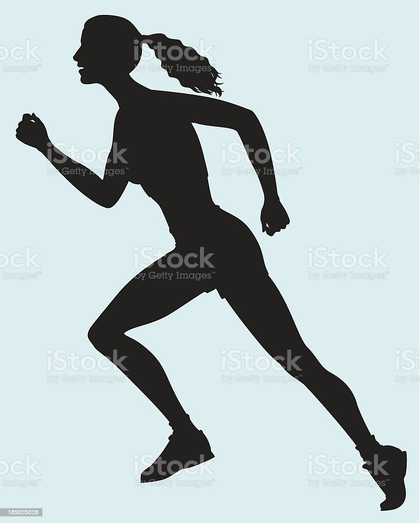 Woman athlete starting a race royalty-free stock vector art