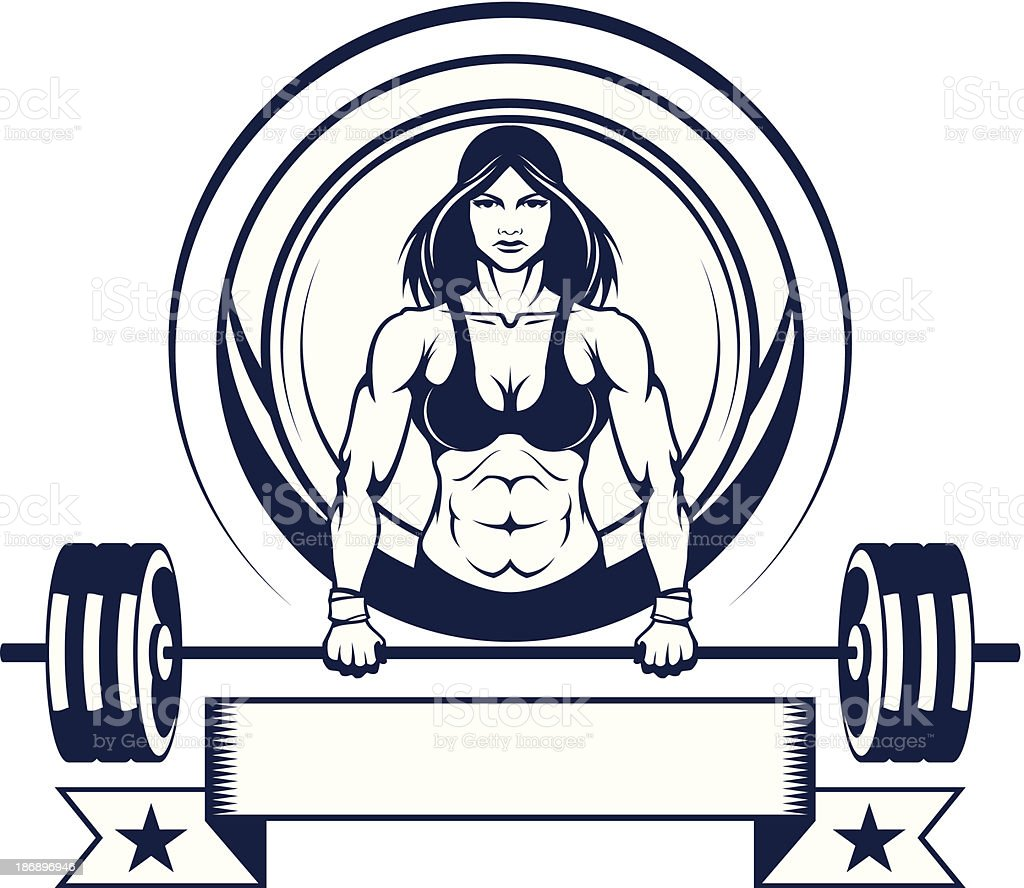 Woman athlete with a barbell stock vector art more for Barbel art