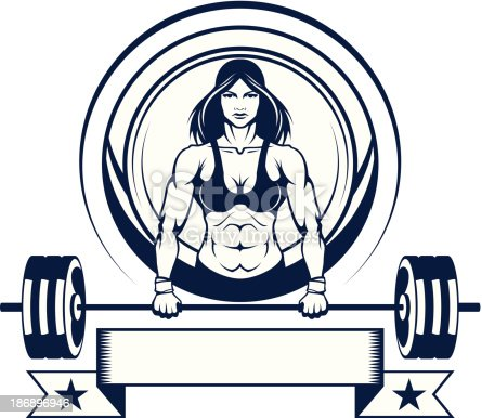 istock woman athlete with a barbell 186896946