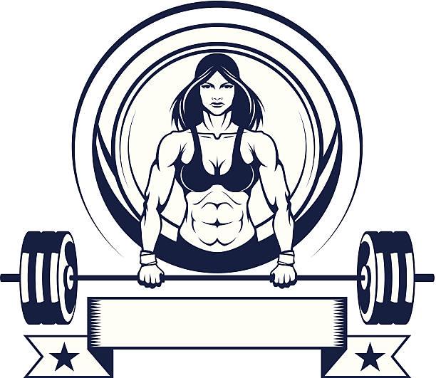 Mujer atleta con una barra para pesas - ilustración de arte vectorial