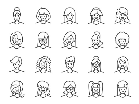 Woman avatar line icon set. Included icons as Female, Girl, Profile, Personal and more.