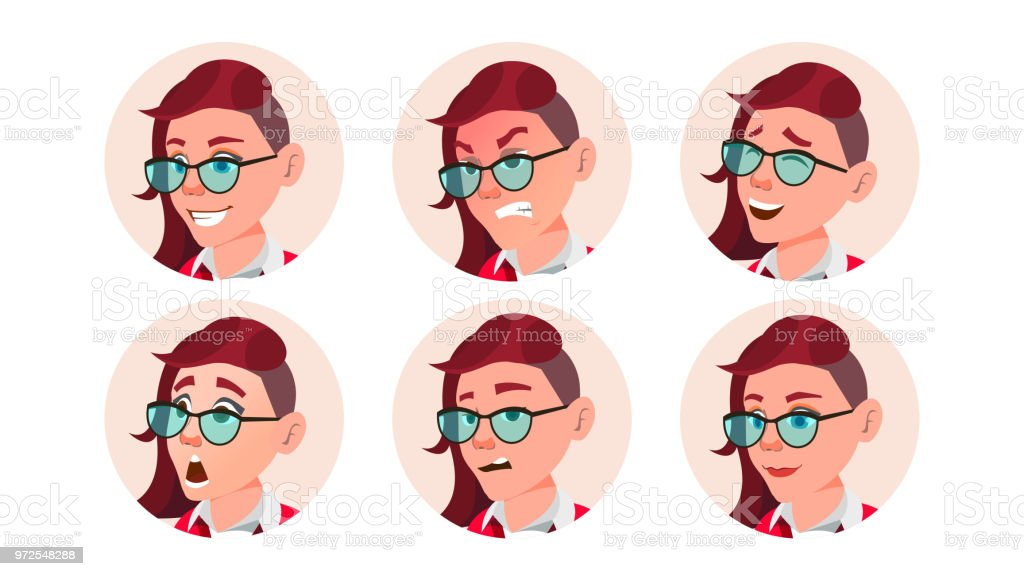 Avatar De La Femme Gens Vector Emotions Du Visage Emo Coiffure Freak