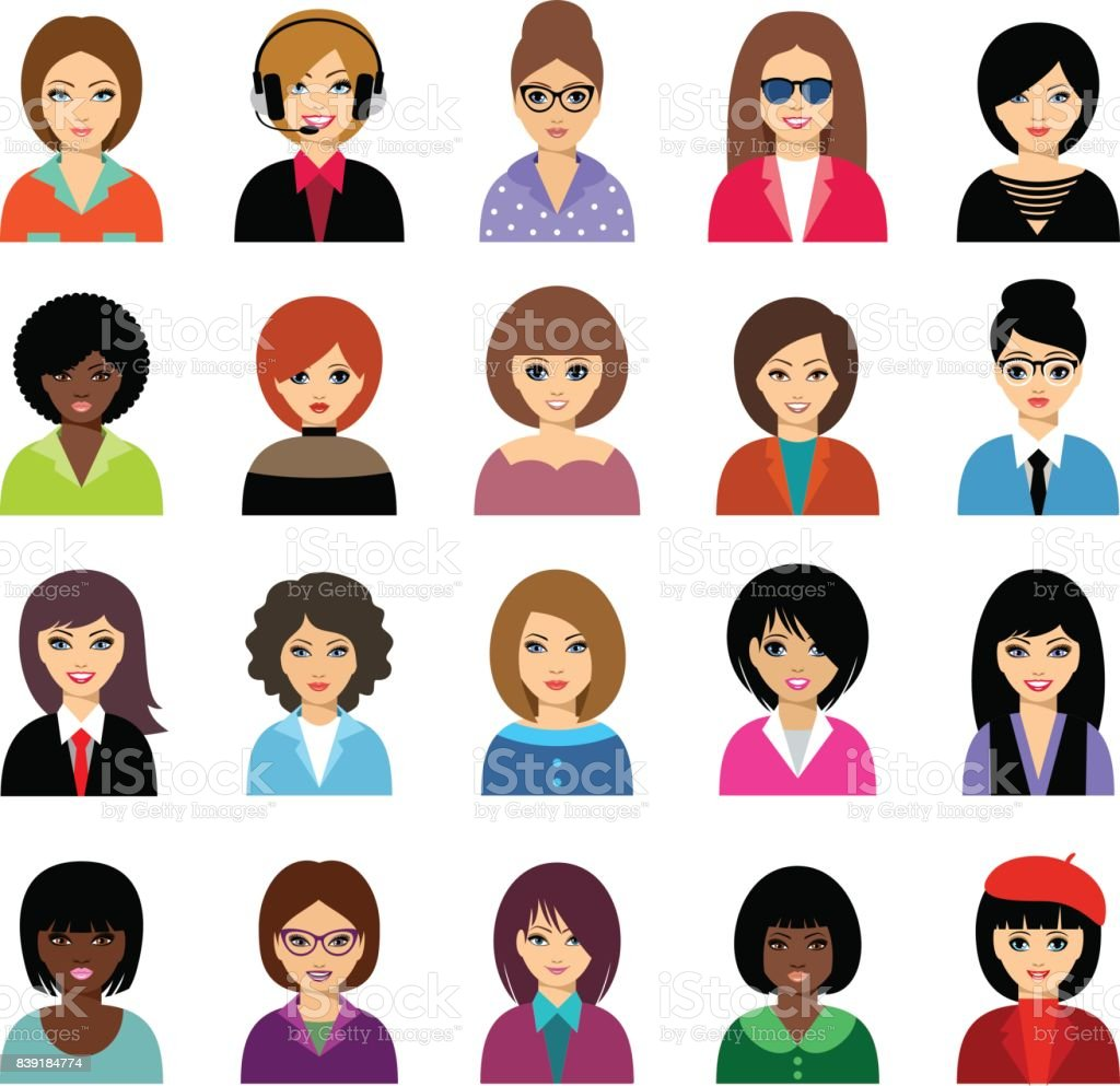 Woman avatar set vector art illustration