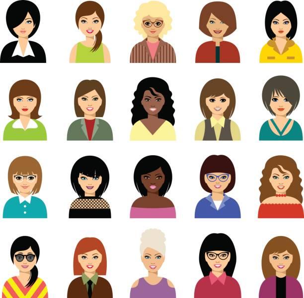 stockillustraties, clipart, cartoons en iconen met vrouw avatar set. - curly brown hair