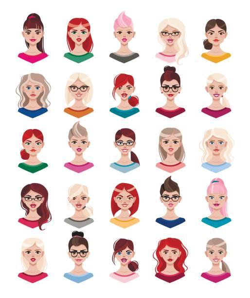 stockillustraties, clipart, cartoons en iconen met vrouw avatar instellen vectorillustratie. mooie jonge meisjes portret met verschillende kapsel geïsoleerd op een witte achtergrond. - curly brown hair
