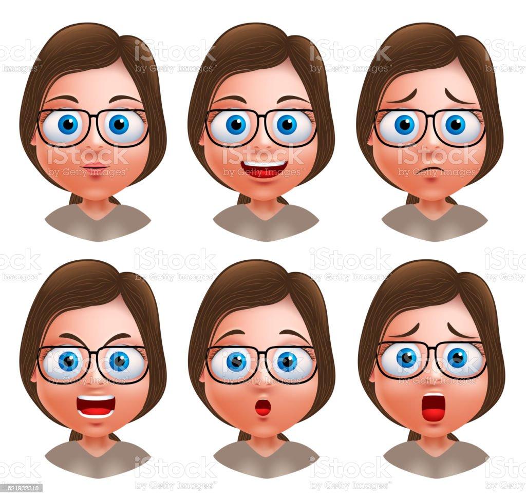 Avatar Woman: Woman Avatar Vector Character Nerd Girl Heads With Facial