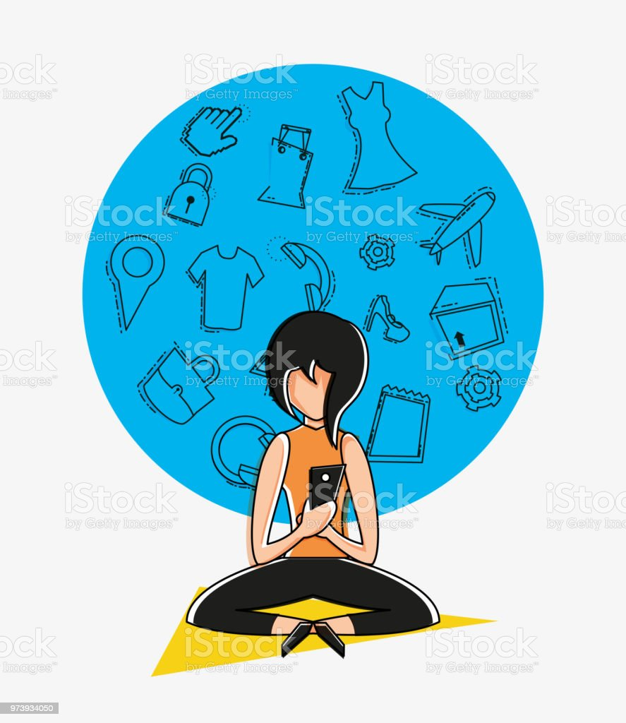 Woman Avatar With Online Shopping Icon Pop Art Style Stock Illustration Download Image Now Istock