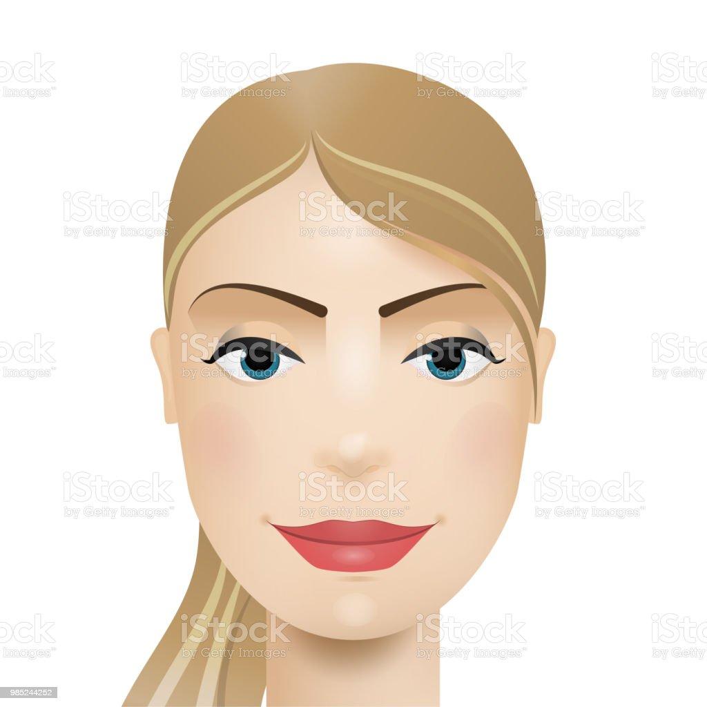 Avatar de mulher. Rosto de mulher. Ilustração em vetor. - ilustração de arte em vetor