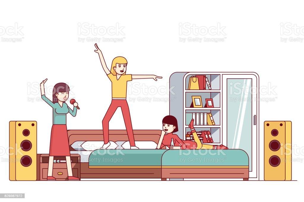 Partie de soirée pyjama femme bachelorette chambre - Illustration vectorielle