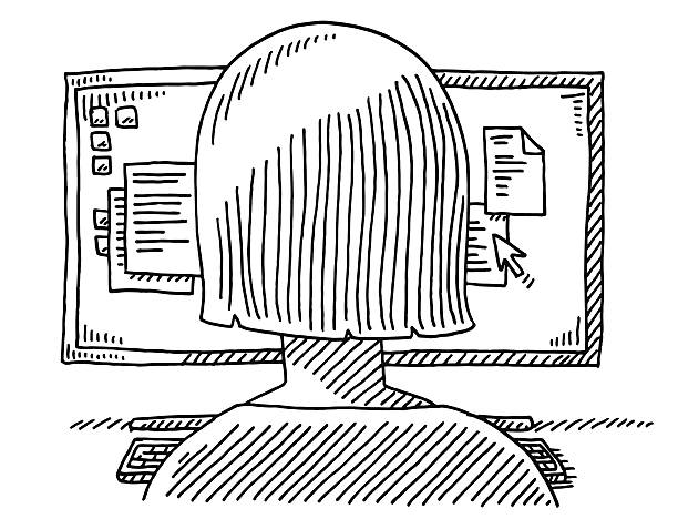 Woman Back Office Work Monitor Drawing Hand-drawn vector drawing of a Woman's Back and a Monitor showing Text Document Files, Office Work. Black-and-White sketch on a transparent background (.eps-file). Included files are EPS (v10) and Hi-Res JPG. women stock illustrations