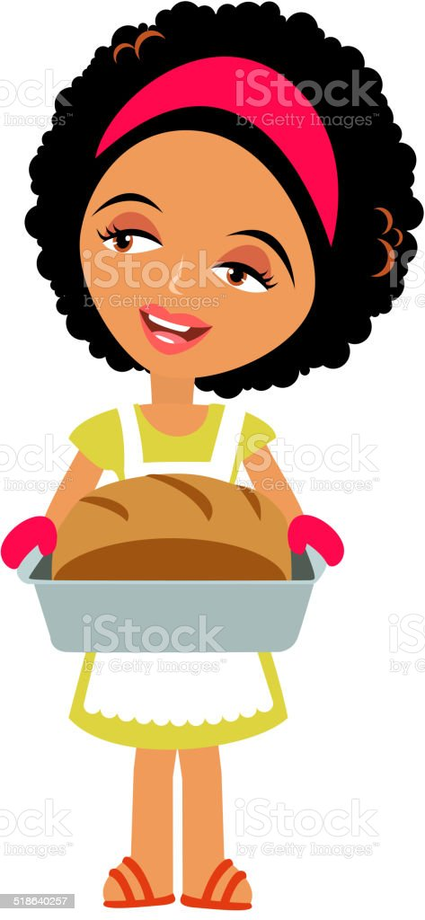 Woman Baking vector art illustration
