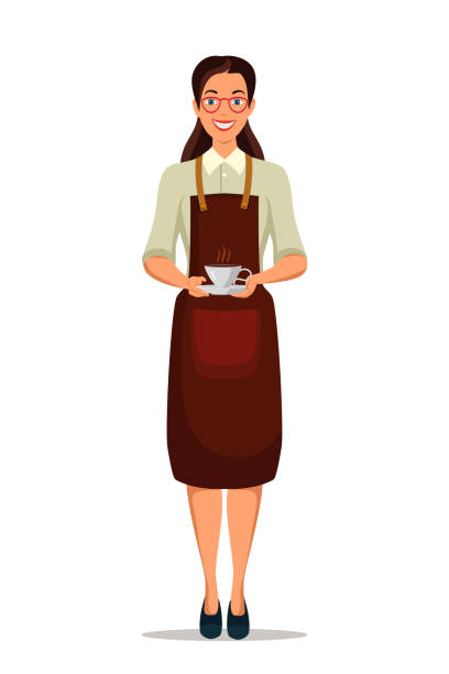 illustrazioni stock, clip art, cartoni animati e icone di tendenza di woman barista in apron and aroma hot coffee in cup - portrait of waiter and waitress holding a serving