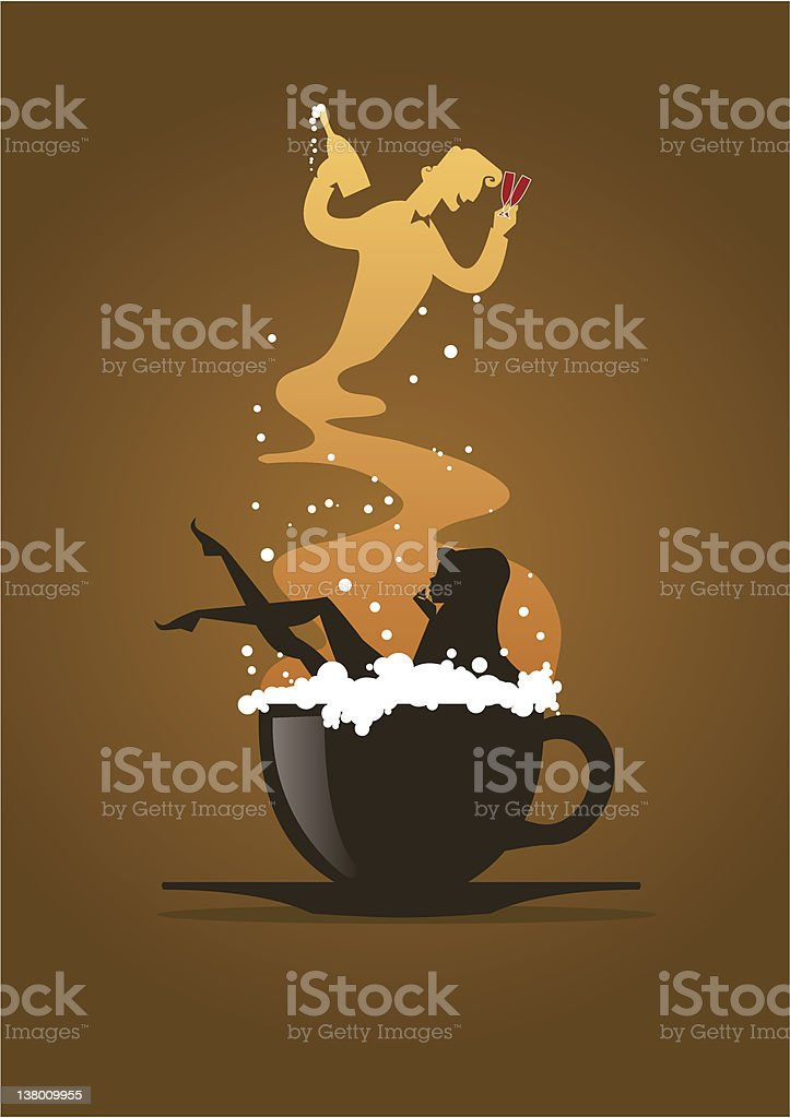 Woman bath in a Cappuccino Cup royalty-free stock vector art