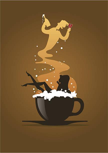 Mulher banho em uma xícara de Cappuccino - ilustração de arte em vetor
