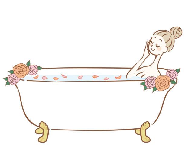 bildbanksillustrationer, clip art samt tecknat material och ikoner med kvinna badar i ett bad med rosenblad - japanese bath woman