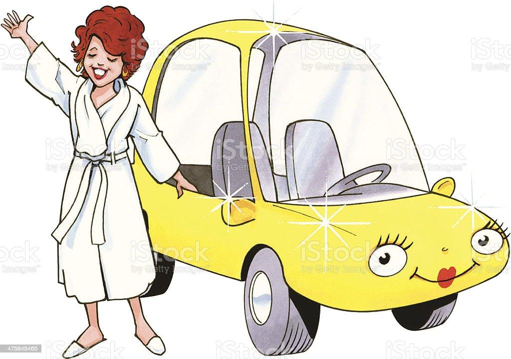 Woman Bathrobe Car C vector art illustration