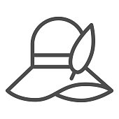 istock Woman beach hat line icon, Aquapark concept, Pamela hat sign on white background, Hat with feather icon in outline style for mobile concept and web design. Vector graphics. 1286253921