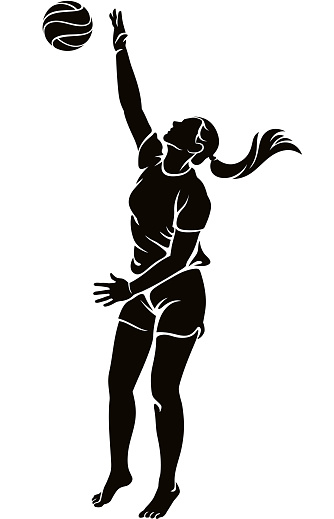 Woman beach volleyball player hitting the ball silhouette illustration
