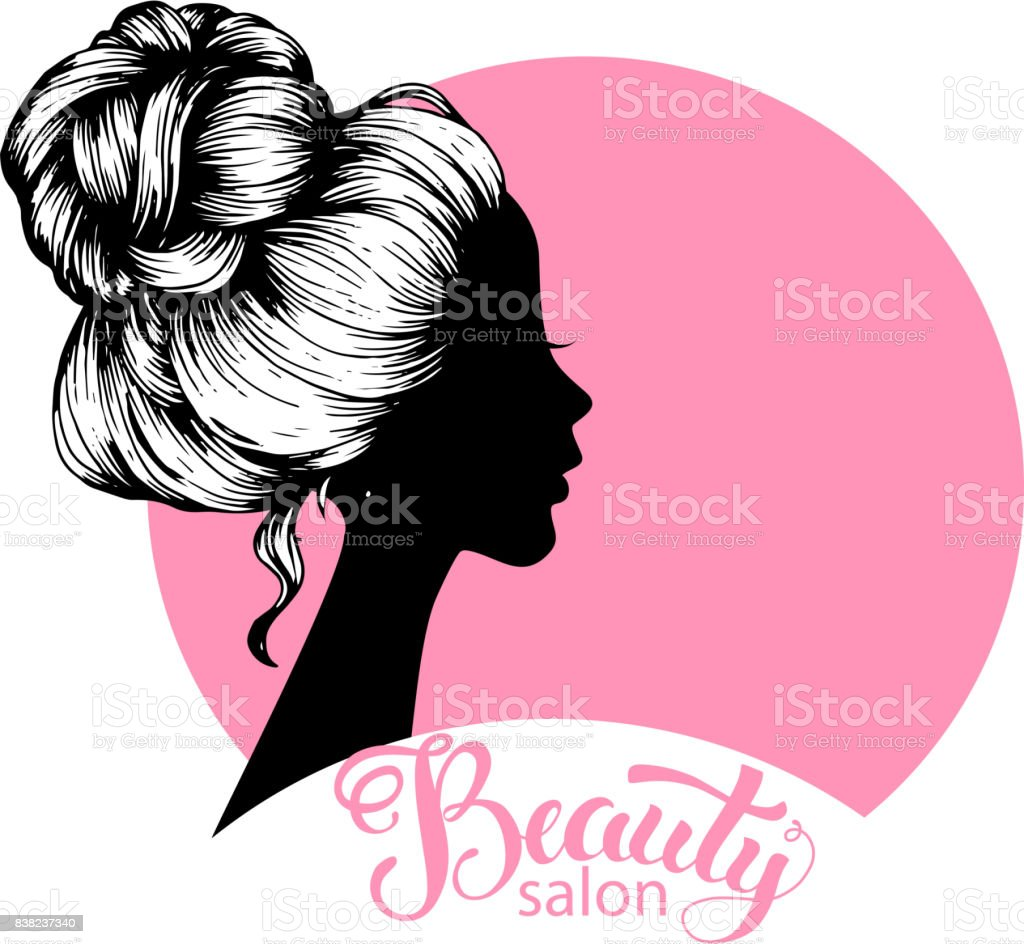 Woman beautiful silhouette with hair style vector art illustration