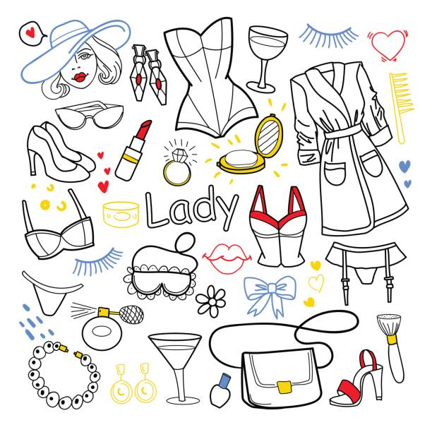 woman beauty fashion hand drawn set. clothes - shoes fashion stock illustrations, clip art, cartoons, & icons