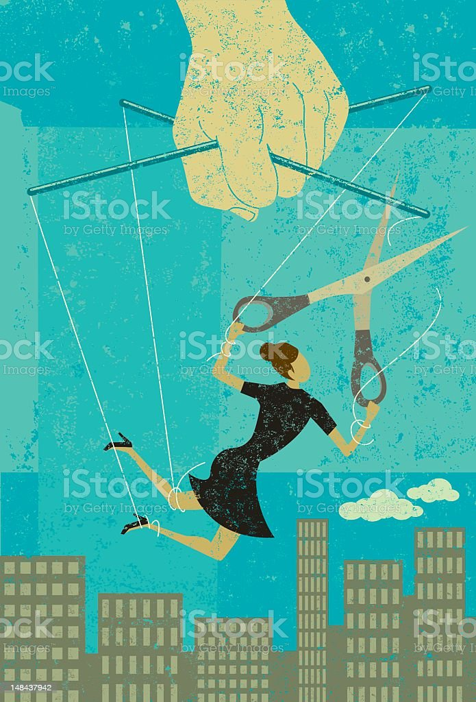 Woman being controlled like a puppet cutting herself free vector art illustration