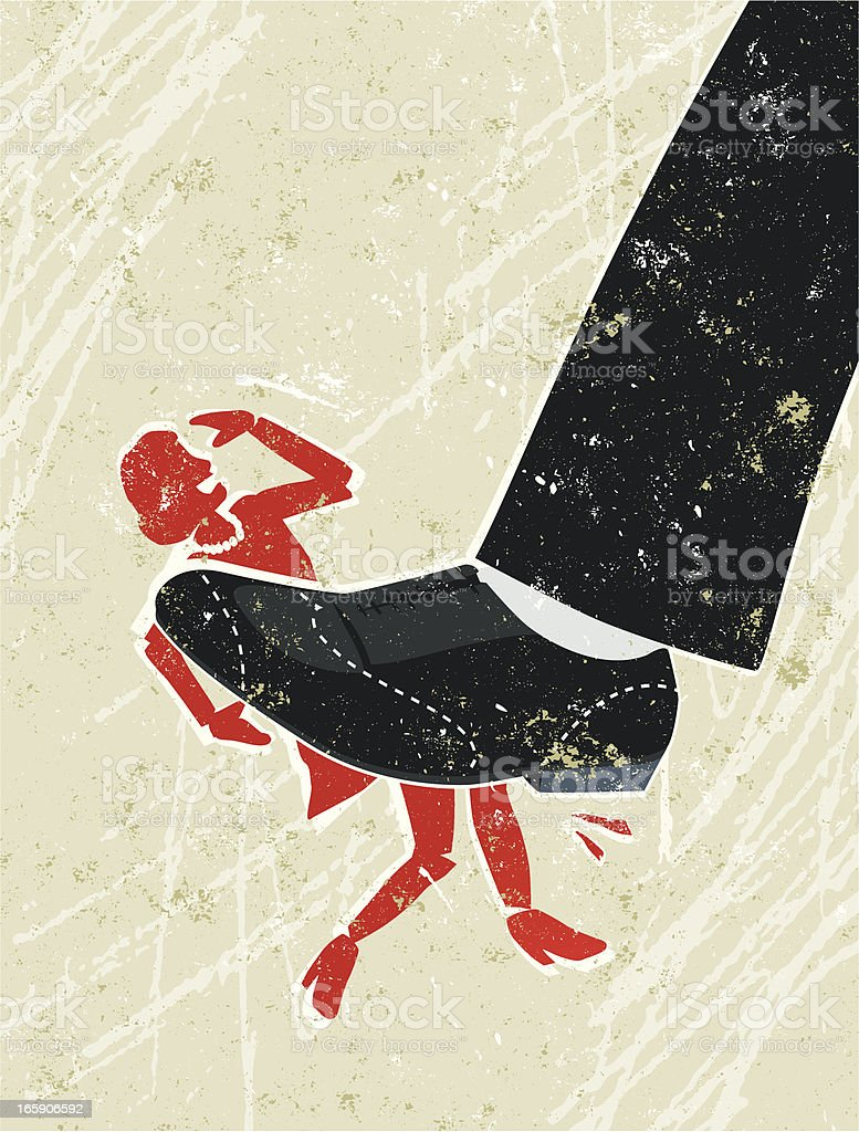 Woman Being Crushed under A Giant Man's Foot royalty-free stock vector art