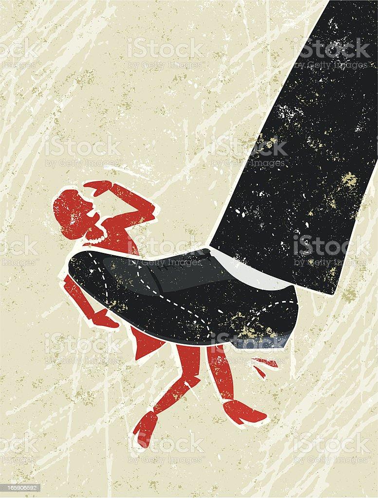 Mujer siendo triturados en un hombre de pie gigante - ilustración de arte vectorial