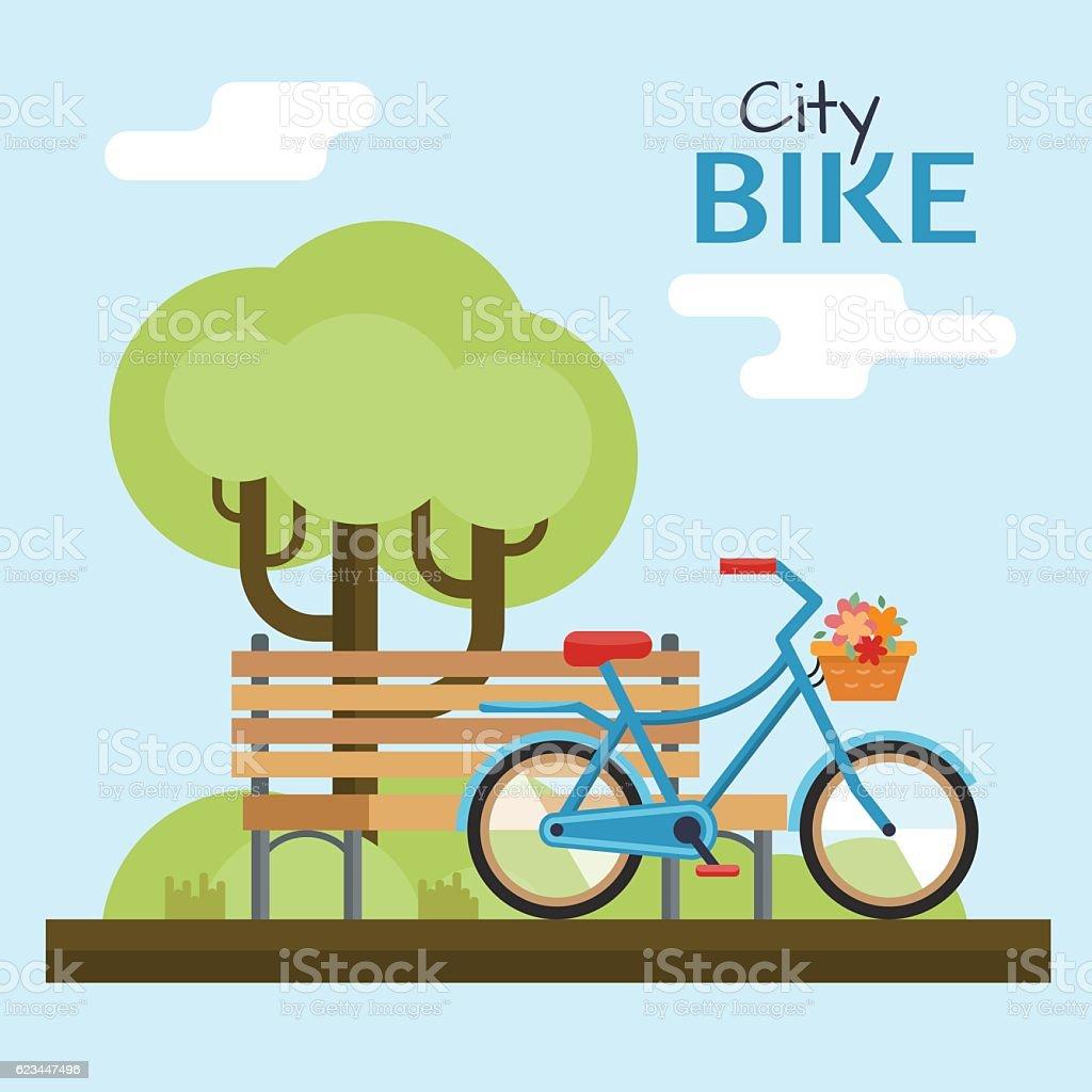 Woman bike flat - ilustração de arte em vetor