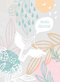 Woman Bird Hello Spring Message. An original artwork vector illustration with typography. This inspirational design can be a postcard, invitation, web banner, shop window, invitation, poster or flyer.