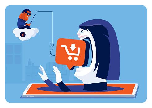 woman biting shopping icon lure while hacker phishing via smartphone
