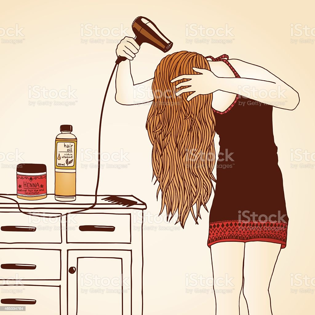 Woman blow drying her hair vector art illustration