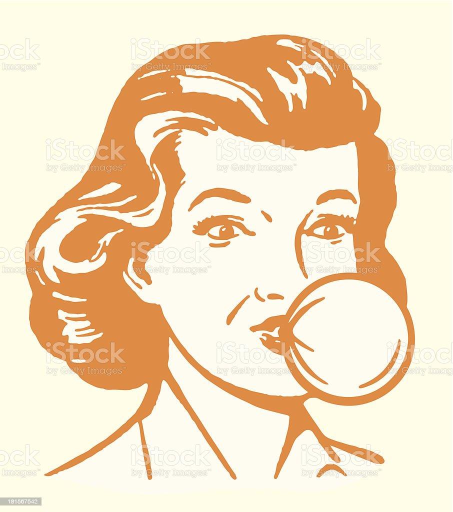 Woman Blowing Bubblegum Bubble vector art illustration