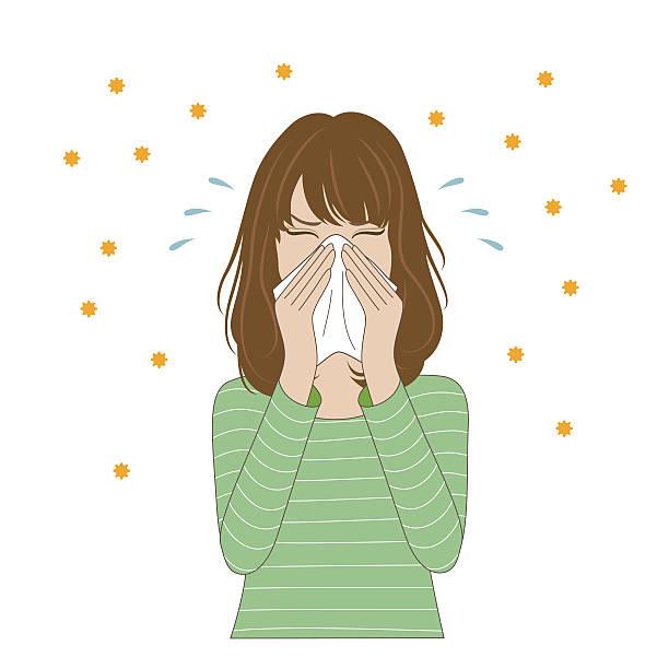 bildbanksillustrationer, clip art samt tecknat material och ikoner med woman blowing her nose - sneezing