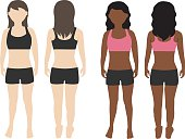 woman body front and back view vector
