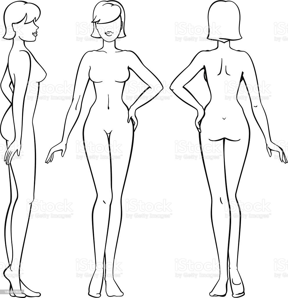woman body - front, back and side view in outline royalty-free stock vector art