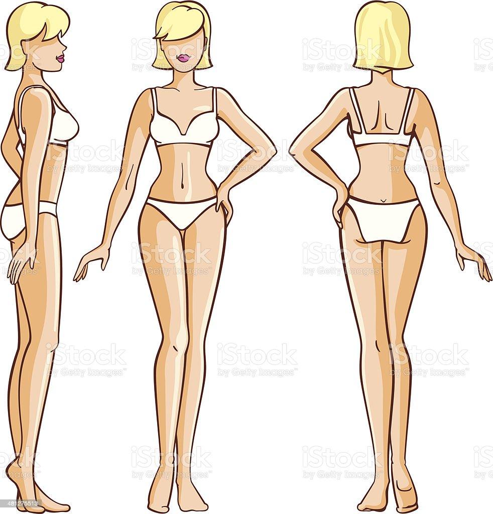 Frau Körpervorderseite Rückseite Und Seitenansicht Stock Vektor Art ...