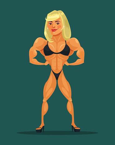 Woman bodybuilder. Vector flat cartoon illustration